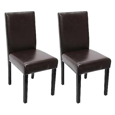 2x Esszimmerstuhl Stuhl Küchenstuhl Littau ~ Kunstleder, braun, dunkle Beine - Bild 1