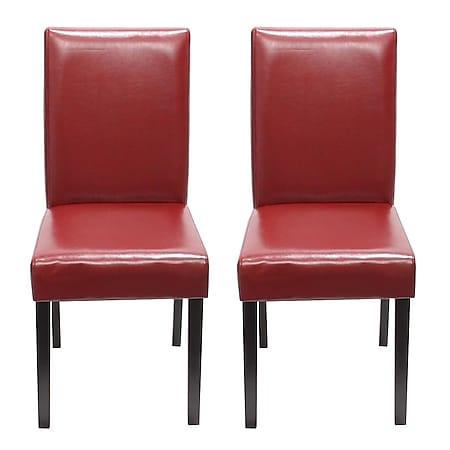 2x Esszimmerstuhl Stuhl Küchenstuhl Littau ~ Kunstleder, rot, dunkle Beine - Bild 1