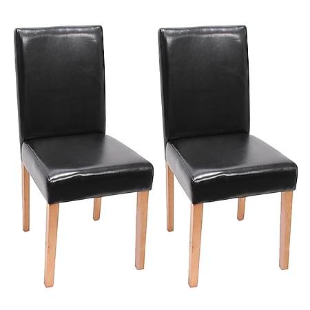 2x Esszimmerstuhl Stuhl Küchenstuhl Littau ~ Kunstleder, schwarz, helle Beine - Bild 1