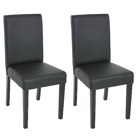 2x Esszimmerstuhl Stuhl Küchenstuhl Littau ~ Kunstleder, schwarz matt, dunkle Beine - Bild 1
