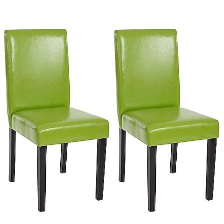2x Esszimmerstuhl Stuhl Küchenstuhl Littau ~ Kunstleder, grün, dunkle Beine - Bild 1