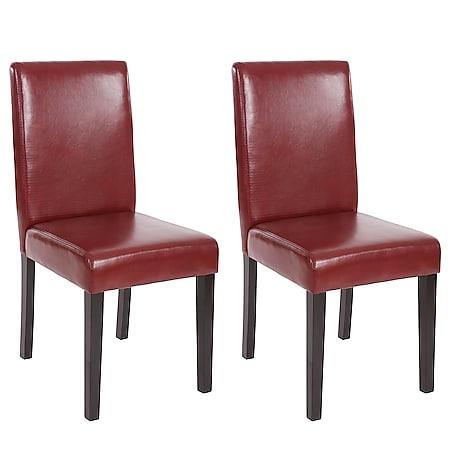 2x Esszimmerstuhl Stuhl Küchenstuhl Littau ~ Kunstleder, rot-braun, dunkle Beine - Bild 1