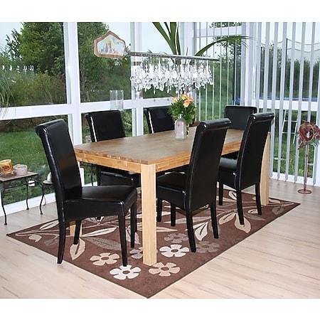 6x Esszimmerstuhl Stuhl Küchenstuhl Lecce II, Leder ~ schwarz, dunkle Beine - Bild 1