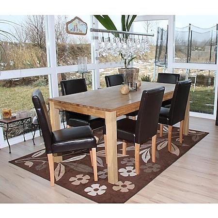 6x Esszimmerstuhl Stuhl Küchenstuhl Littau, Leder ~ braun, helle Beine - Bild 1