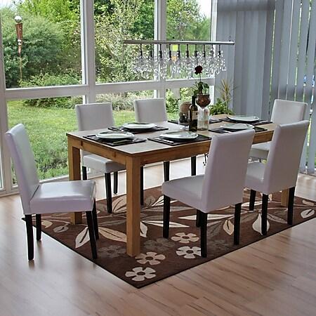 6x Esszimmerstuhl Stuhl Küchenstuhl Littau, Leder ~ weiß, dunkle Beine - Bild 1