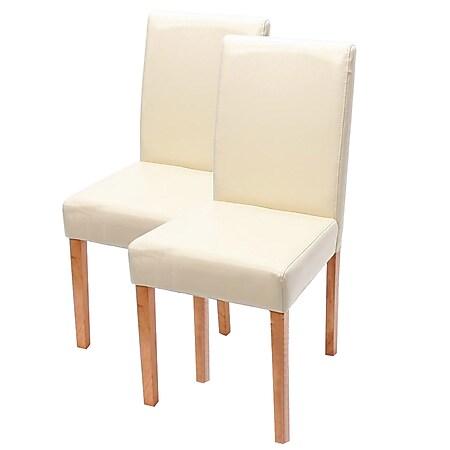 2x Esszimmerstuhl Stuhl Küchenstuhl Littau ~ Leder, creme, helle Beine - Bild 1