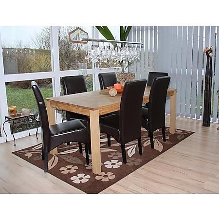 6x Esszimmerstuhl Küchenstuhl Stuhl Crotone, LEDER ~ braun, dunkle Beine - Bild 1