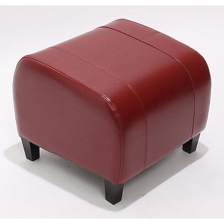 Sitzwürfel Aversa, Leder + Kunstleder, 37x45x47 cm ~ rot - Bild 1