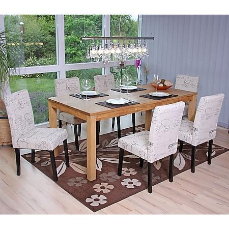 6x Esszimmerstuhl Stuhl Küchenstuhl Littau ~ Textil mit Schriftzug, creme, dunkle Beine - Bild 1