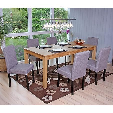 6x Esszimmerstuhl Stuhl Küchenstuhl Littau ~ Textil, grau, dunkle Beine - Bild 1
