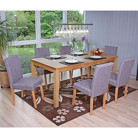 6x Esszimmerstuhl Stuhl Küchenstuhl Littau ~ Textil, grau, helle Beine - Bild 1