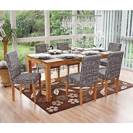 6x Esszimmerstuhl Stuhl Küchenstuhl Littau ~ Textil mit Schriftzug, grau, helle Beine - Bild 1
