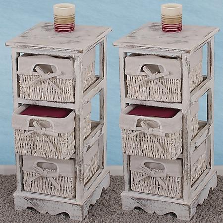 2xRegal Kommode mit 3 Korbschubladen 58x25x28cm, Shabby-Look, Shabby-Chic, Vintage ~ weiß - Bild 1