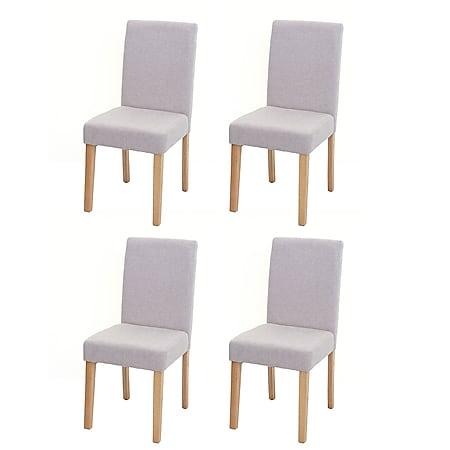 4x Esszimmerstuhl Stuhl Küchenstuhl Littau ~ Textil, creme-beige, helle Beine - Bild 1