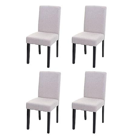 4x Esszimmerstuhl Stuhl Küchenstuhl Littau ~ Textil, creme-beige, dunkle Beine - Bild 1