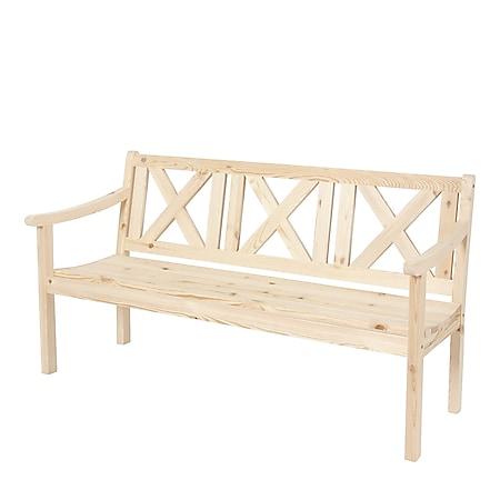 Gartenbank Bank Parkbank Mazara 3-Sitzer 160 cm Holz Gastronomie-Qualität ~ natur - Bild 1