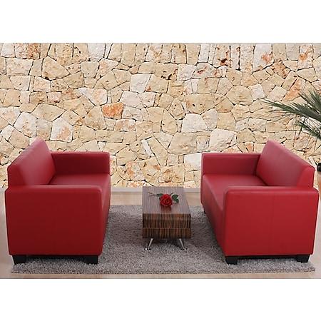 Sofa-Garnitur Couch-Garnitur 2x 2er Sofa Moncalieri Kunstleder ~ rot - Bild 1