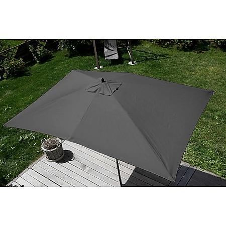 Sonnenschirm Lissabon, Gartenschirm Marktschirm, 2x3m Polyester/Holz 6kg ~ anthrazit - Bild 1