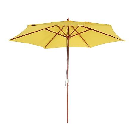 Sonnenschirm Lissabon, Gartenschirm Marktschirm, Ø 3m Polyester/Holz ~ gelb - Bild 1