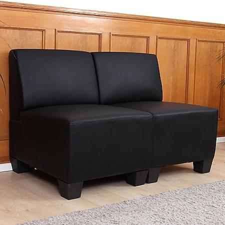 Modular 2-Sitzer Sofa Couch Moncalieri, Kunstleder ~ schwarz, ohne Armlehnen - Bild 1