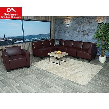 Modular Sofa-System Couch-Garnitur Moncalieri 6-1, Kunstleder ~ rot-braun - Bild 1