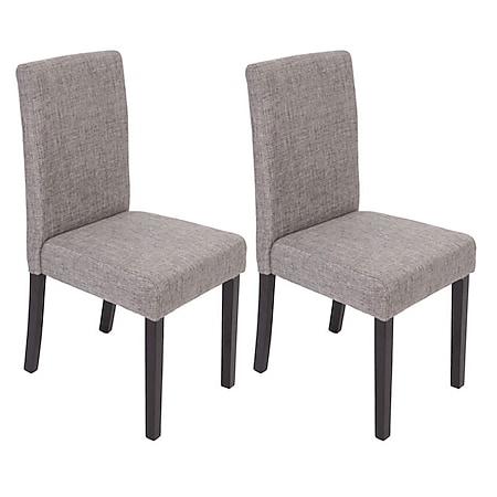 2x Esszimmerstuhl Stuhl Küchenstuhl Littau ~ Textil, grau, dunkle Beine - Bild 1