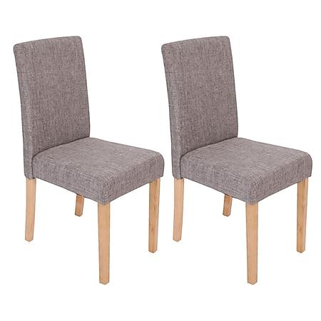 2x Esszimmerstuhl Stuhl Küchenstuhl Littau ~ Textil, grau, helle Beine - Bild 1