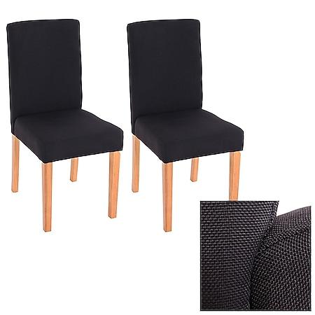 2x Esszimmerstuhl Stuhl Küchenstuhl Littau ~ Textil, schwarz, helle Beine - Bild 1