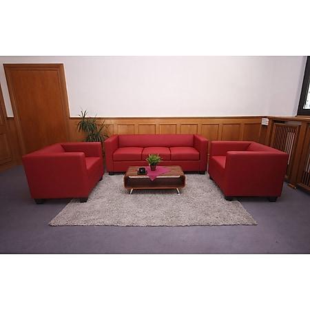 3-1-1 Couchgarnitur Lille ~ Leder, rot - Bild 1