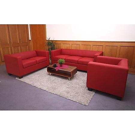 3-2-1 Couchgarnitur Lille ~ Leder, rot - Bild 1