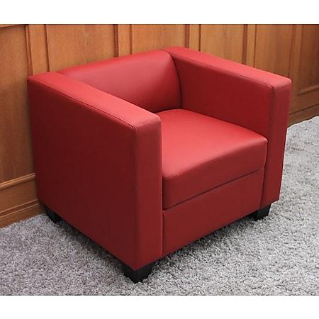 Sessel Lille ~ Leder, rot - Bild 1