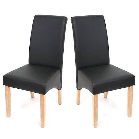 2x Esszimmerstuhl Cesena ~ Kunstleder matt, schwarz, helle Füße - Bild 1