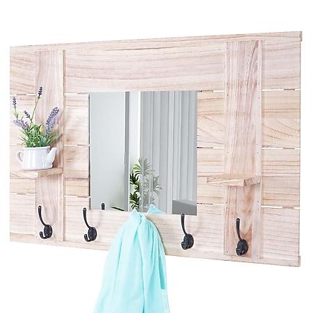 Wandgarderobe MCW-C89 mit Spiegel, Garderobenpaneel Garderobe, Shabby-Look Vintage, 5 Haken 90x60cm ~ naturbraun - Bild 1