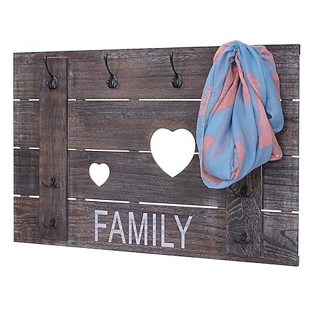 Wandgarderobe MCW-C89 Family, Garderobenpaneel Garderobe, Shabby-Look Vintage, 8 Haken 60x90cm ~ braun, shabby - Bild 1