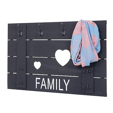 Wandgarderobe MCW-C89 Family, Garderobenpaneel Garderobe, Shabby-Look Vintage, 8 Haken 60x90cm ~ dunkelgrau, shabby - Bild 1
