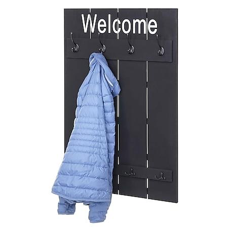 Wandgarderobe MCW-C89 Welcome, Garderobe Garderobenpaneel, Shabby-Look Vintage, 91x60cm ~ dunkelgrau, shabby - Bild 1