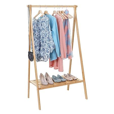 Standgarderobe MCW-B82, Kleiderständer Garderobe Garderobenständer, Bambus klappbar 150x84x57cm - Bild 1