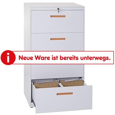 Hängeregisterschrank MCW-A10, Aktenschrank Büroschrank Stahlschrank, A4 abschließbar ~ 132x76x46cm weiß - Bild 1