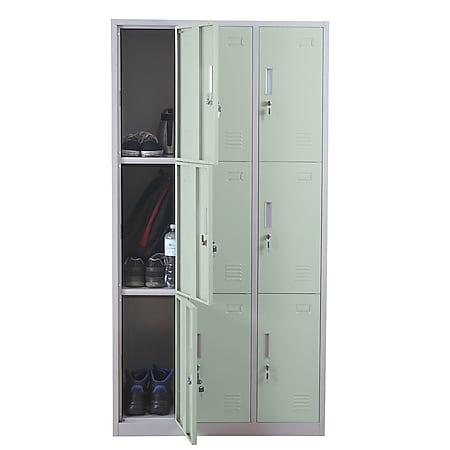 Schließfach Preston T829, Schließfachschrank Wertfachschrank Spind, Metall 9 Fächer ~ grün - Bild 1