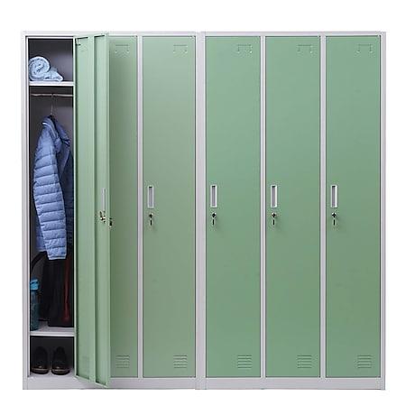 Schließfach Preston T829, Spind Wertfachschrank Schließfachschrank, Metall 6 Fächer ~ grün - Bild 1