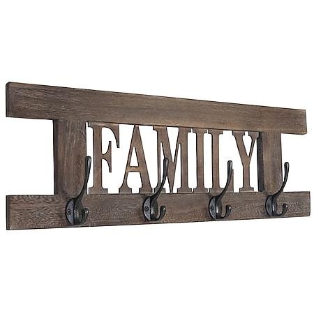 Wandgarderobe Familie, Garderobe Garderobenpaneel, Shabby-Look Vintage 20x60cm ~ braun - Bild 1