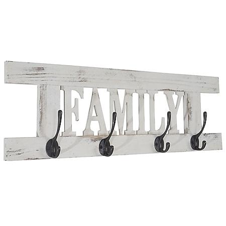 Wandgarderobe H503 Family, Garderobe Garderobenpaneel, Shabby-Look Vintage 20x60cm ~ weiß - Bild 1