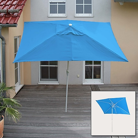 Sonnenschirm Castellammare, Gartenschirm, 2x3m rechteckig neigbar, Polyester/Alu 4,5kg ~ blau - Bild 1