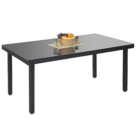 Poly-Rattan Gartentisch Chieti, Esstisch Tisch mit Glasplatte, 160x90x74cm ~ anthrazit - Bild 1