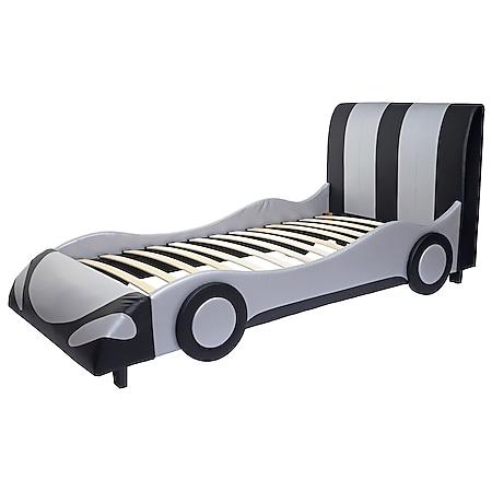 Bett MCW-E14, Auto Junge Kinderbett Jugendbett, Lattenrost Kunstleder Holz 190x100cm ~ schwarz-silber - Bild 1