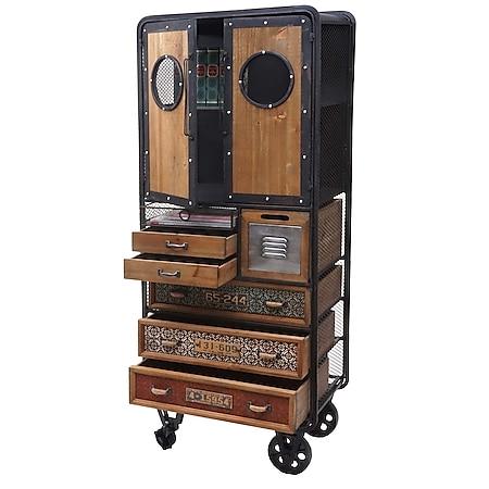 Apotheker-Schrank MCW-D78, Kommode Rollwagen Metallregal, Tanne Holz Vintage Shabby-Look 146x60x35cm - Bild 1
