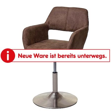 Esszimmerstuhl MCW-A50 III, Stuhl Küchenstuhl, Retro 50er Jahre, Stoff/Textil ~ vintage braun, Fuß gebürstet - Bild 1