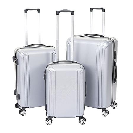 3er Set Koffer MCW-D54a, Reisekoffer Hartschalenkoffer Trolley Handgepäck, Höhe 72/60/50cm ~ grau, Premium - Bild 1