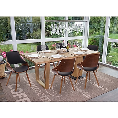 6x Esszimmerstuhl MCW-D23, Küchenstuhl Stuhl, Retro-Design ~ Kunstleder schwarz - Bild 1