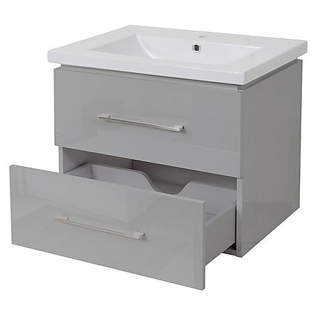 Premium Waschbecken + Unterschrank MCW-D16, Waschbecken Waschtisch, hochglanz 60cm ~ grau - Bild 1